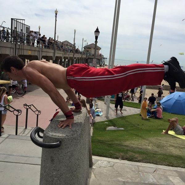 Gabe doing advanced plank, parkour