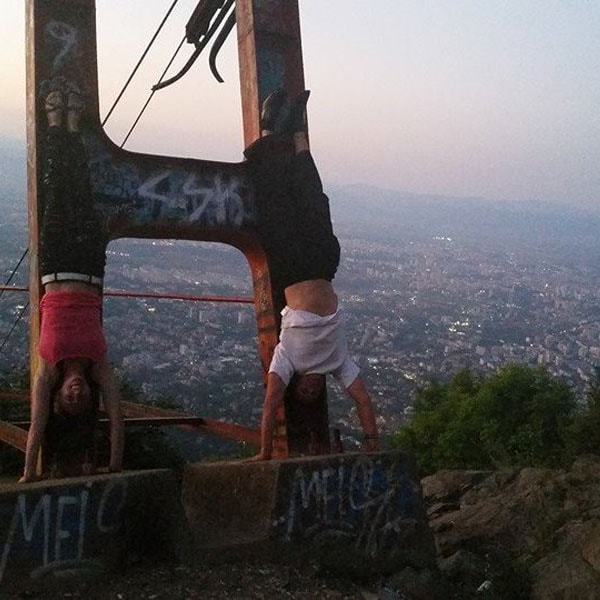 Mr. Mike Genchev parkour handstand on top of Sofia